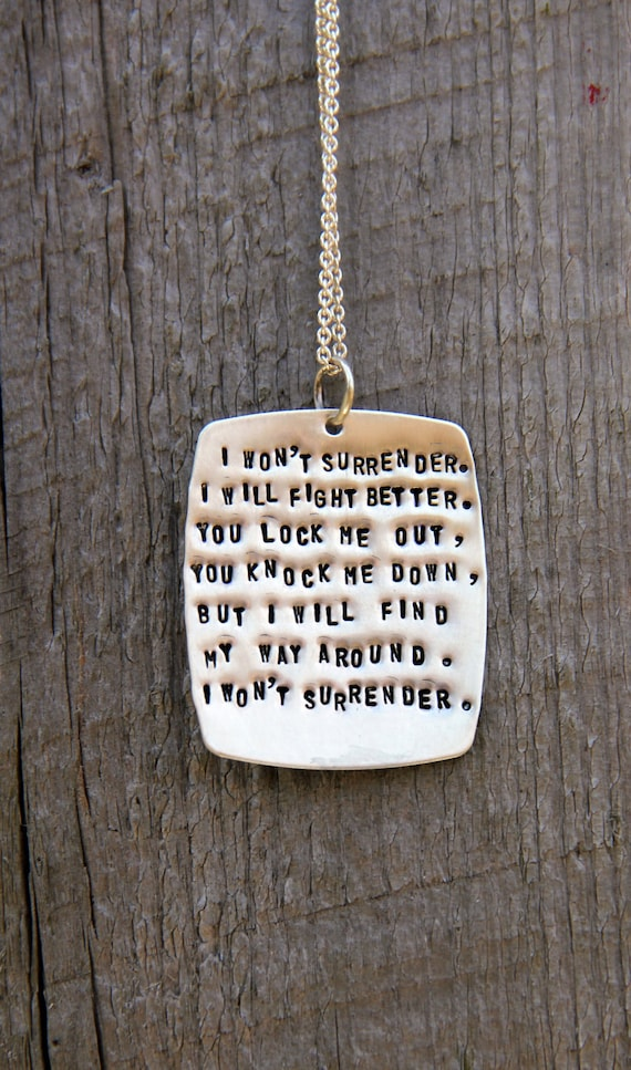 I Won't Surrender Personalized Quote Necklace, Ingrid Michaelson Quote, Musical Pendants For Her, Fighter Lyrics, Surrender