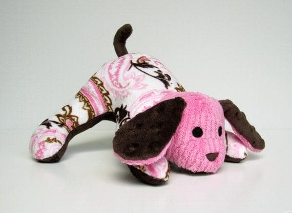 Stuffed Puppy - Minky Scrap Puppy - Small Pink & Brown Paisley Mutt - Ready to Ship