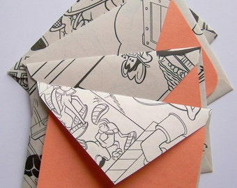 SALE - Coloring Pages Stationery - Set of 4 - Orange- SALE