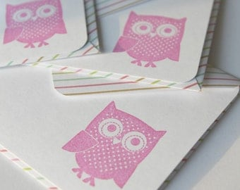 SALE Set of 3 Stationery - Bubble Gum Stripes - What a Hoot