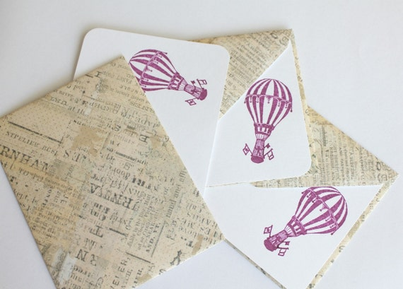 Set of 3 Stationery - Vintage with Purple - See the World