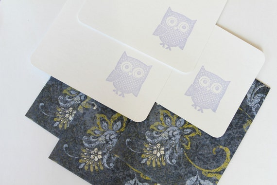 Set of 3 Stationery - Lavender and Blue - What a Hoot