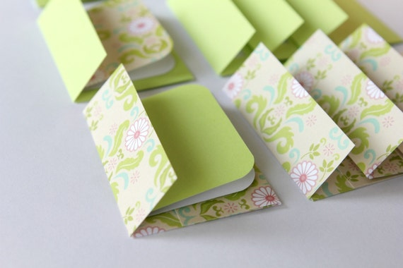Mini Cards n Envelopes - Set of 8 - Green Delight