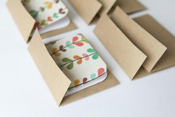 Mini Cards n Envelopes - Set of 6 - Recycled Kraft - Colorful Leaves