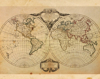 Vintage World Map Print 8x10 P47