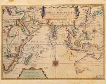 Vintage Indian Ocean Map Print 8x10 P79