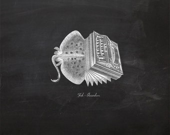 Vintage Fish Accordion on Chalkboard Print 8x10 P130