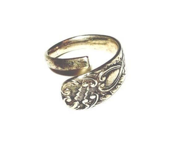 HANDMADE IN ENGLAND, Art Noveau Vibe, Vintage Silver Plated Wrap Ring, by Holly Daise on Etsy
