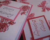 CLEARANCE...Floral Birthday Cards- set of 4