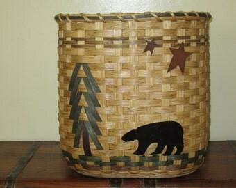 Magazine Basket / Waste Basket / North Woods / Bear  Handwoven Basket