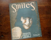 """Sheet music, """"Smiles"""" with art nouveau illustration of beautiful girl, 1918"""