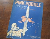 """Sheet music, """"Pink Poodle"""" one-step with dog and carnival circus clown, 1914, ragtime, Charles L. Johnson"""