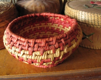 Woven basket, handmade, coiled bowl, rust and taupe stripes, Native American Indian style, southwestern