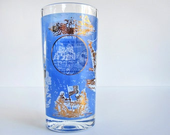 Apollo 11 commemorative drinking glass tumbler, Apollo XV Lunar Rover, blue gold white, 1969 moon landing, mid century barware Collins glass