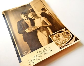 Chocolate Valentine's Day advertising photograph, Bunte Brothers Candies, vintage 1920s or 1930s romantic couple in tuxedo and evening gown