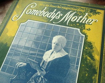 """Sheet music, """"Somebody's Mother,"""" photo of old woman, vintage 1921 waltz, Mother's Day gift, mom, blue, green, mimosa yellow"""