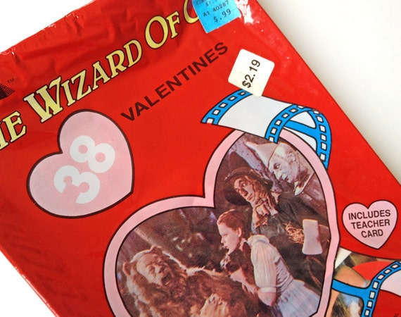 Wizard of Oz Valentine's Day cards, vintage 1988, mint in box, 38 valentines with envelopes and teacher card, Judy Garland, Cleo
