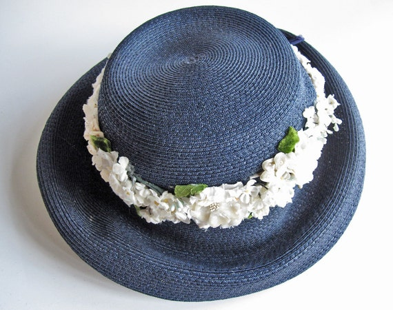 Vintage Marshall Field midnight blue ladies straw hat with white flowers, blue ribbon, summer wedding hat, 1950s spring garden party hat