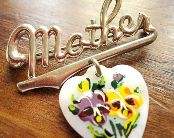 Mother pin or brooch, with glass heart and pansy flowers, souvenir of Indianapolis, Indiana, silvertone script, white, yellow, green, purple