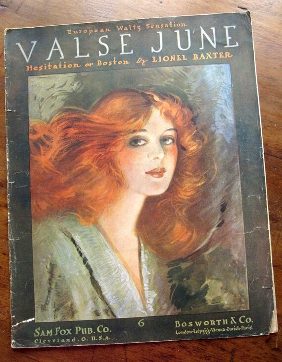 "Sheet music, ""Valse June,"" ragtime waltz, vintage 1914, beautiful redhead woman illustration, rust, ginger, persimmon orange, summer"