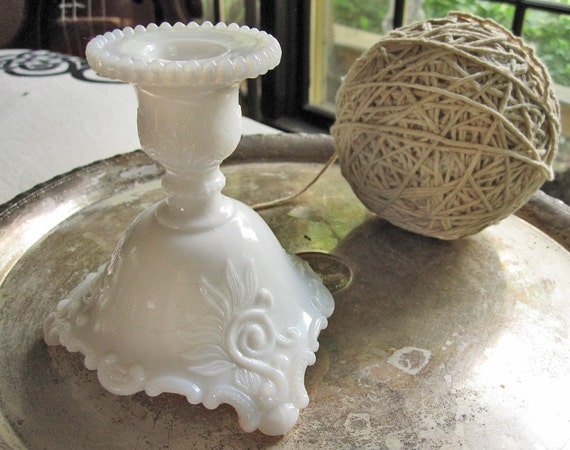 Milk glass candlestick, Westmoreland Scroll and Lace or flame pattern candleholder, beaded edge, shabby chic, cottage decor, Victorian