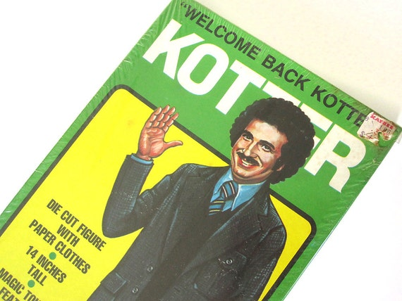Welcome Back Kotter paper doll, complete in original shrink wrapped box, Gabe Kaplan, green and yellow, 1970s television, Mr. Kotter
