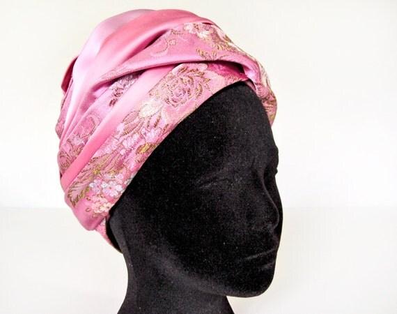 Christian Dior turban hat, 1960s vintage honeysuckle pink coral fuchsia lavender satin pleated brocade and tulle designer ladies toque hat