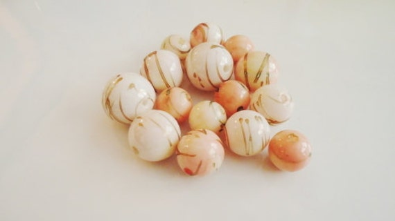 Pink Beads Coated Vintage Rounds Gold Swirls