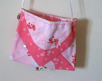 Silk Three Pocket Purse - goldfish print
