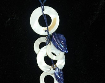 Blue Cord Necklace with Shell Pendant