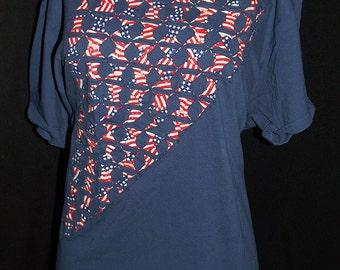 Navy  Ripped T Shirt