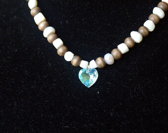Wood and White Necklace with a Heart Pendant