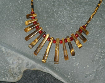 Tiger Eye Necklace with Red Accents