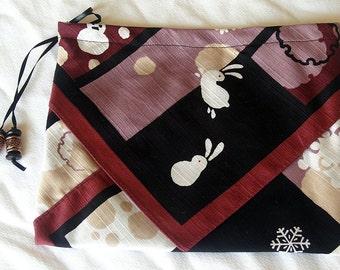 Silk Three Pocket Purse - maroon and black print with white bunnies