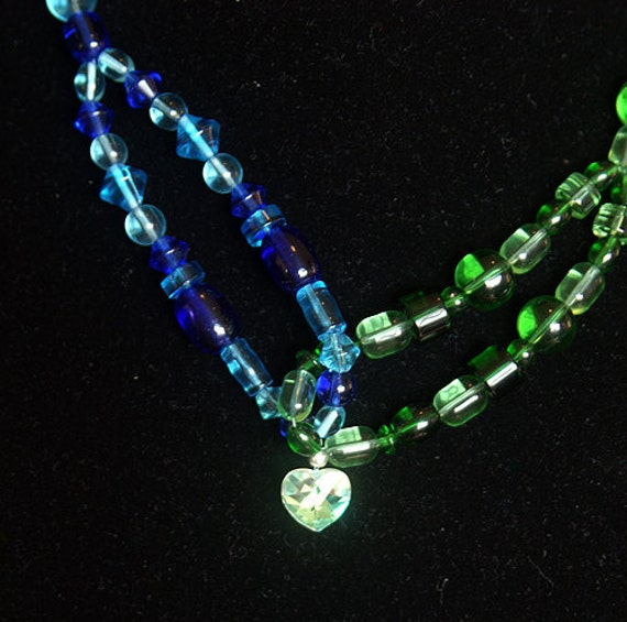 Blue and Green Knot Necklace with a Heart Pendant