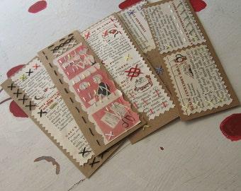 "BOOKMARK EMBROIDERED COOKBOOK Vintage Upcycle ""Retro Sweetness"""