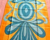 Swirly gold and aqua.  Vtg kitchen or tea towel, linen. Fantastic condition.