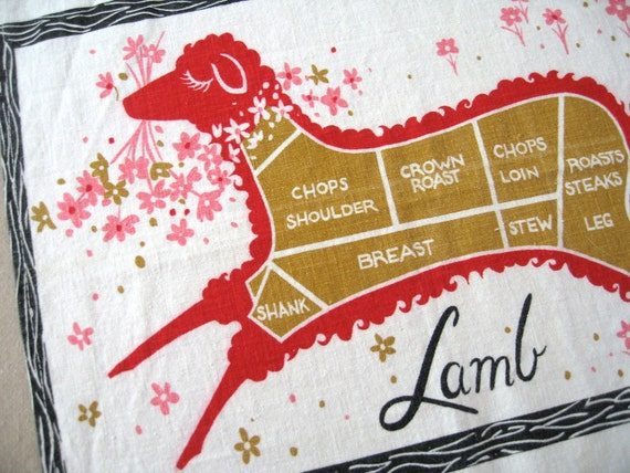 Beef pork lamb. Fab vtg kitchen towel in great condition.