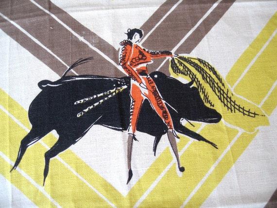 Matador. Vtg linen kitchen towel, never used. Great condition.