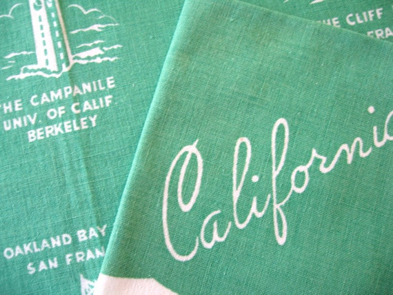 Calitime. Set of 4 placemats and napkins, souvenir, historical California spots, great condition.