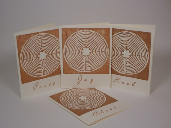 Hand Stamped Chartres Labyrinth Greeting Cards - Set of 4 in Sepia