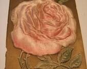 Postcard Antique Embossed Pink Rose