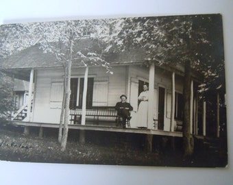 Antique Real Photo Postcard 1912 Cottage Brodhead Wisconsin