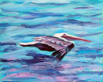 "Pelican Flying - Archival Print -8"" x 8"""