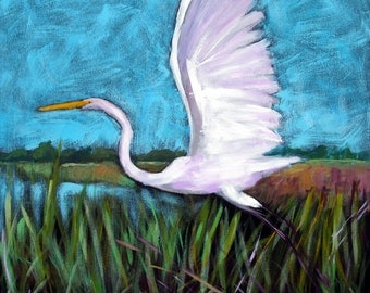 """Taking Off - Archival Print -8 """"x 8 """"-White Egret Marsh"""
