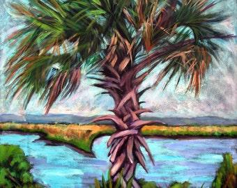 "Marsh Palm II - Archival Print -8"" x 8"""