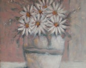 "Daisies 1982 - Impressionist Original Modern Art Oil Painting 10''x12"" - Canadian artist  Michel Campeau"