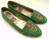 Size 6.5 Amazing 1970s Green Moccasins Multicolored Leather and Rhinestone Accents (size 6 1/2)