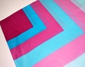 1980s Square Scarf with Pink and Blue Concentric Squares - Geometric Design