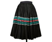1950s Skirt - Broomstick Pleated Full Skirt in Black with Ric Rac Trim in Teal, Red and Silver (size extra small - small)
